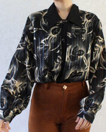 Vintage blouse zwart blad T361