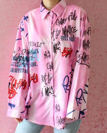 Blouse roze blouse letters T416