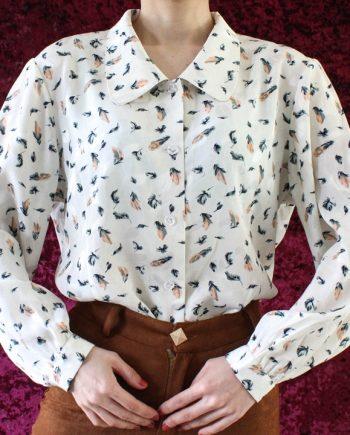 Vintage blouse bloem blad T710