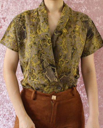 Vintage blouse bloem geel T712