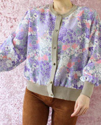 Vintage blouse bloem lila T714