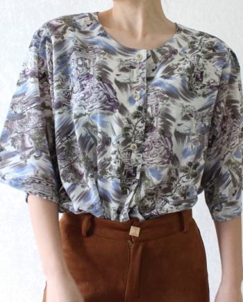 Vintage blouse lilapaars blauw T676