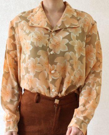 Vintage blouse oranjeroze bloem T718