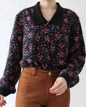 Vintage blouse roze bloem T716