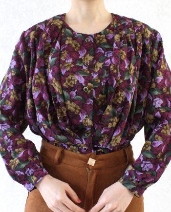 Vintage blouse roze bruinbeige bloem T698