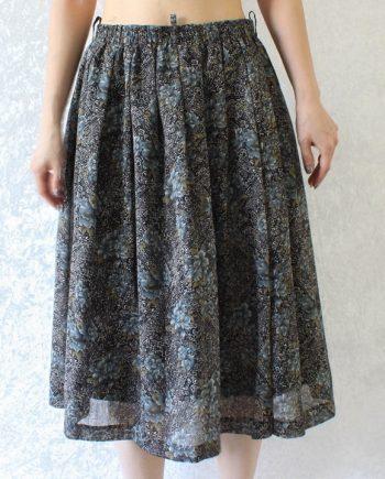Vintage rok bloem grijsblauw T710