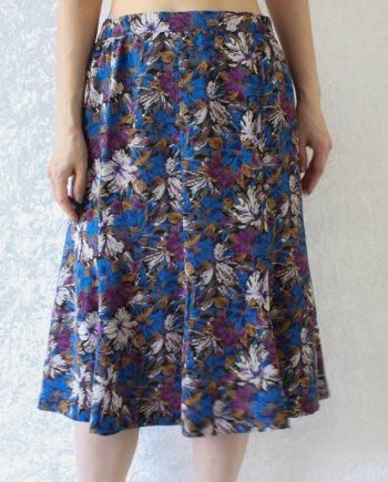 Vintage rok lila blauw bloem T675