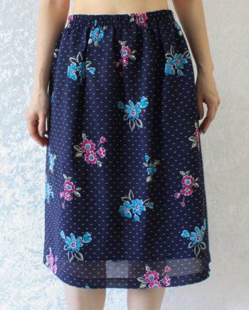 Vintage rok roze blauw bloem T710