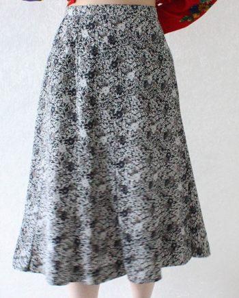 Vintage rok wit grijs bloem T676