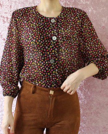 Vintage blouse bloemen roze rood T625