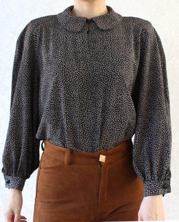 Vintage blouse wit zwart T347