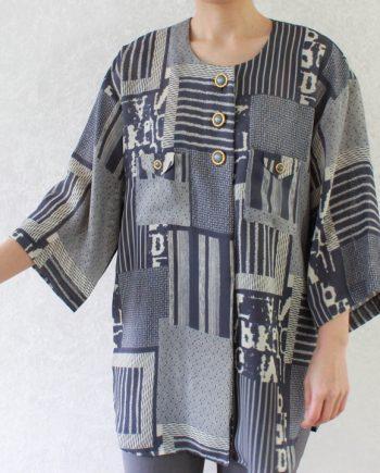 Vintage grijsblauw beige blouse stripe T717