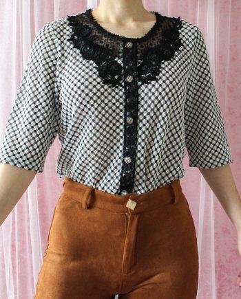 Vintage lace blouse bloem T651