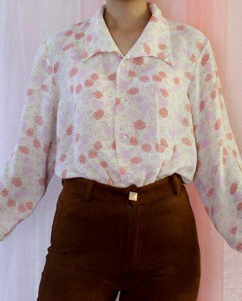 Vintage blouse bloem roze T819