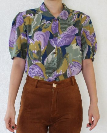 Vintage blouse lila groen T645