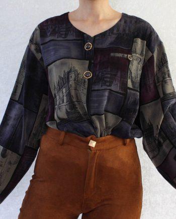 Vintage blouse paars grijs T655