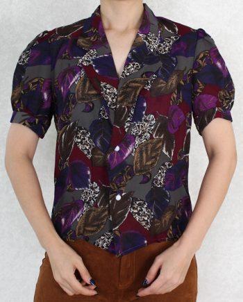 Vintage blouse blad paars T822