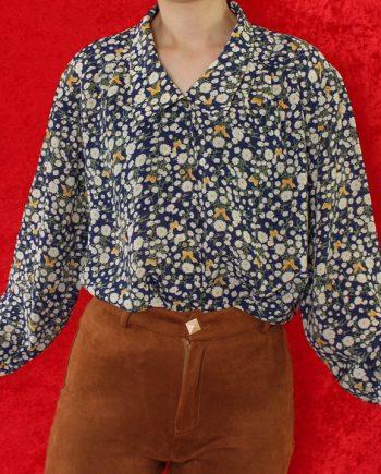 Vintage blouse bloem blauw geel T835