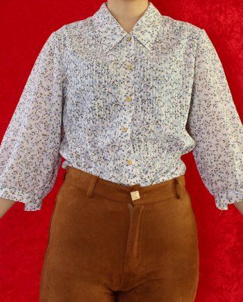Vintage blouse bloem blauw wit T647