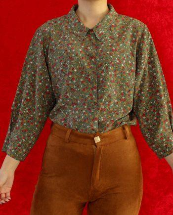 Vintage blouse bloem groen T838