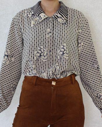 Vintage blouse bloem navy beige T690.4