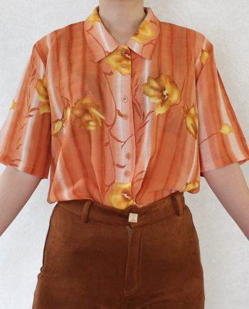 Vintage blouse bloem oranje T674