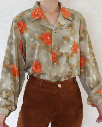 Vintage blouse bloem oranje T826