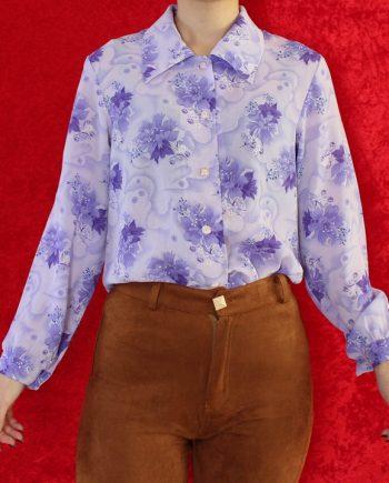 Vintage blouse bloem paars T840