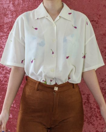 Vintage blouse bloem rood T809