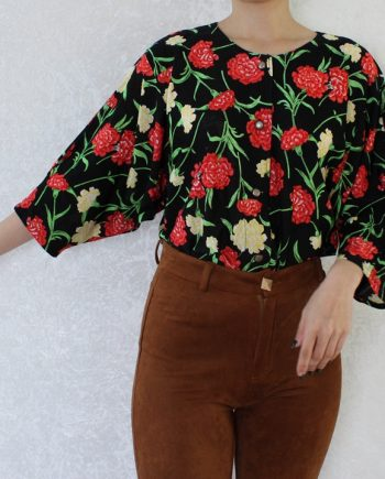 Vintage blouse bloem zwart rood T821