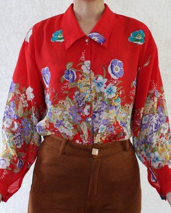 Vintage blouse bloemen rood T827