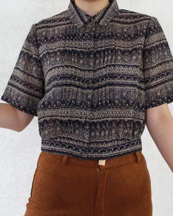 Vintage blouse bohemian blauw beige T815