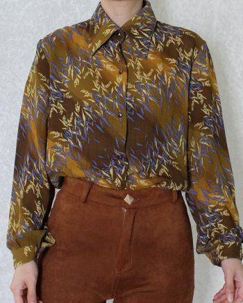 Vintage blouse bruin geel T816