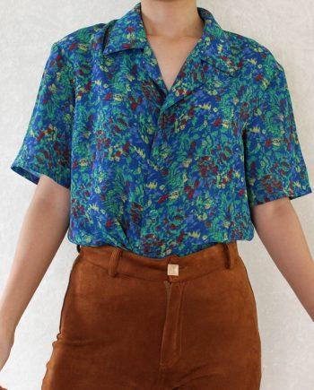 Vintage blouse groen blauw geel T716