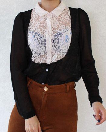 Vintage blouse lace hollow zwart wit T834