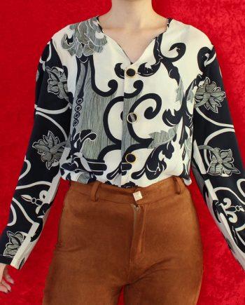 Vintage blouse navy beige T346