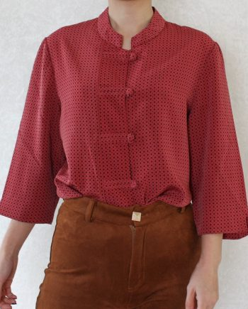 Vintage blouse polka rood zwart T709