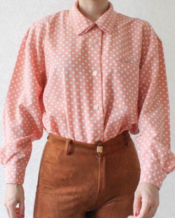 Vintage blouse polka rozeoange T838