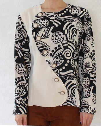 Vintage blouse polka zwart beige T824