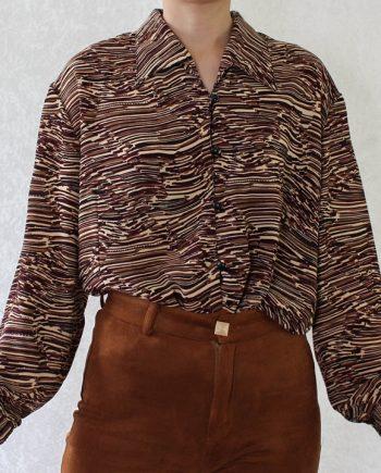 Vintage blouse rood bruin T603