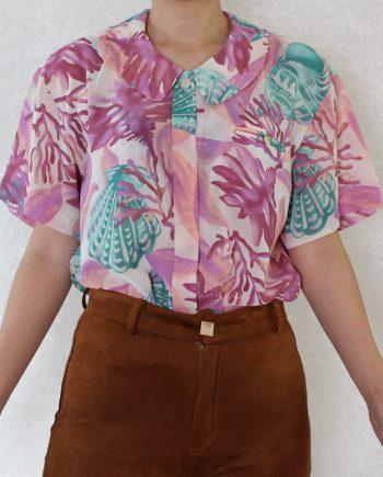 Vintage blouse shell roze lila T834