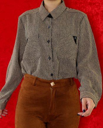 Vintage blouse stripe beige zwart T836