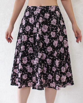 Vintage rok bloem roze zwart T834