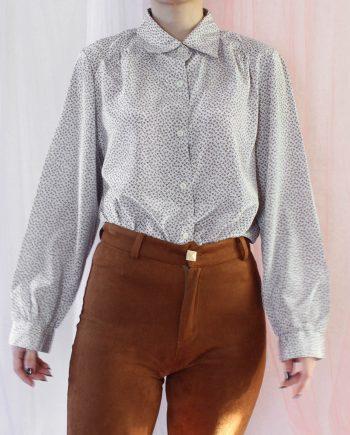 Vintage blouse blad grijs bruin T369