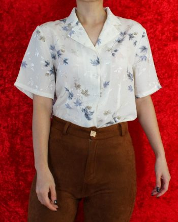 Vintage blouse blad wit blauw T708
