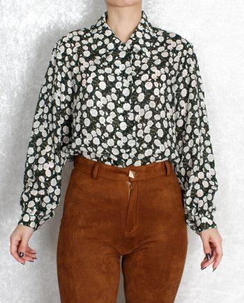Vintage blouse bloem groen T832