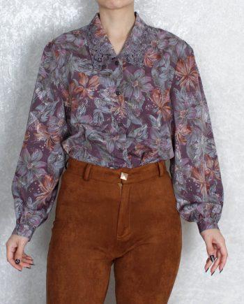 Vintage blouse bloem lace collar T813