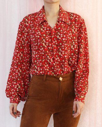 Vintage blouse bloem rood T325