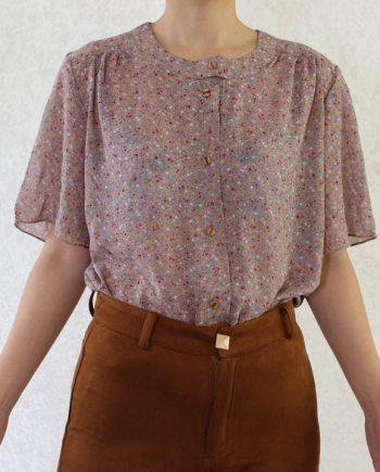 Vintage blouse bloem rood geel T718