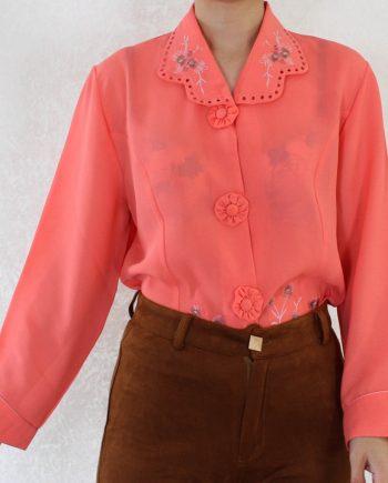 Vintage blouse bloem rozeoranje T701